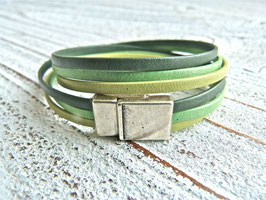 Lederarmband grün Nappaleder zum Wickeln