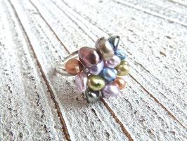 Keshi Perlen Ring pastell