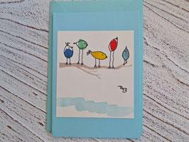 4 Karten oder 4 Weihnachtskarten Original Aquarelle