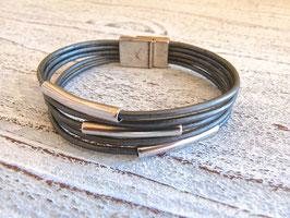 Lederarmband grau metallic 5-reihig mit Zamak Röhren