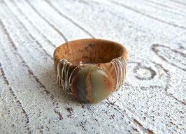Ring aus Kork in natur mit  Impressionsjaspis