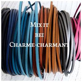 MIX it Wickelarmband flaches Leder, 2-fach gewickelt, 4 Lederbänder