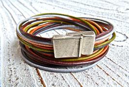 Wickelarmband Leder Farbmix braun