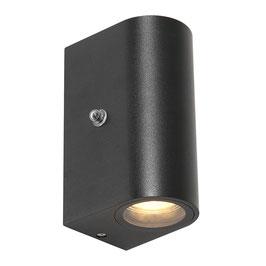 Buitenlamp Wand Zwart Sensor Rond