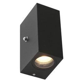 Buitenlamp Wand Zwart Sensor Rechthoek