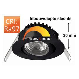 Inbouwspot Rico 6,5w zwart dim to warm 3000K-1800K 500Lm