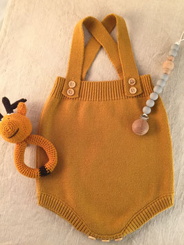 Bloomer culotte à bretelles tricot moutarde