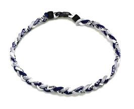 Geflochtene Halskette (Baseball Titan Necklace) - Farbe: Navy, Grau, Weiss (Länge ca. 45cm)