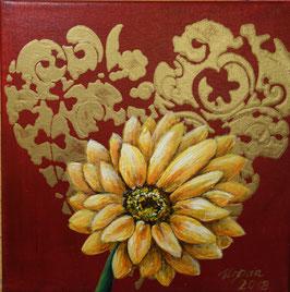 Herz mit gelber Blüte