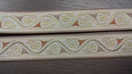 1m - Mittelalter,Borte, creme, weiß, orange , ca. 40 mm breit