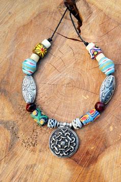 Halskette mit Wikinger AMULETT HAITHABU -altsilberfarben