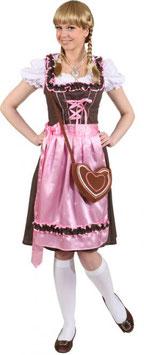 Dirndl,Giga gepunktet, braun-rosa  9691