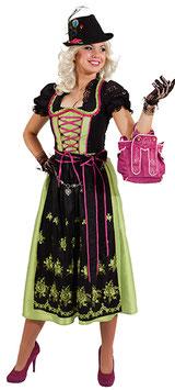 Dirndl Lotti lang, schwarz-grün-pink 9497