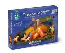 Ostheimer 60205 Krippen Set mit Diorama 11-tlg.