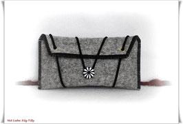 Tolles Etui aus Wollfilz für allerlei Frauenkram - schwarz/grau-meliert