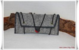 Tolles Etui aus Wollfilz für allerlei Frauenkram - grau-meliert/dunkelgrau