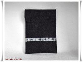 Edle E-Book-Tasche - ob für Kobo, Paperwhite, Tolino... / Eule grau auf anthrazit