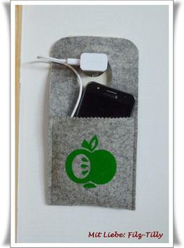 """Ladestation / Ladetasche aus Filz """" Apfel grün """" für`s Handy / Smartphone"""