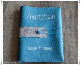 Zeugnismappe / Dokumentenmappe aus Filz inkl. Display Buch / türkis mit grau-meliert