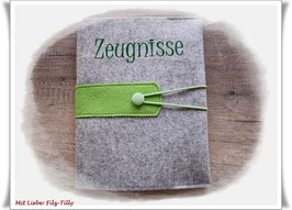 Zeugnismappe / Dokumentenmappe aus Filz inkl. Display Buch / grau-meliert mit grün