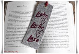 Lesezeichen aus Filz / Liebe Lache Lese / bordeaux auf grau-meliert