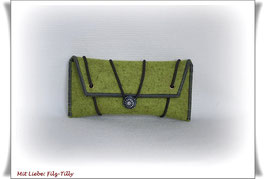 Tolles Etui aus Wollfilz für allerlei Frauenkram - kiwi/grau