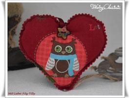 Hübsches Weihnachts - Herz aus Dekostoff / Weihnachtsmotive