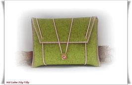 Filztasche / Tablet Tasche / Büchertasche / kiwi (grün) & rosa