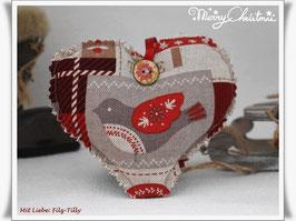 Hübsches Weihnachts - Herz aus Dekostoff / Vogel - Eiskristalle - Stern