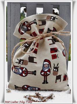 Geschenksäckchen aus Dekostoff / Elche - Nikolaus - Geschenke