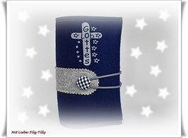 Gotteslobhülle aus Filz / dunkelblau mit grau / personalisiert