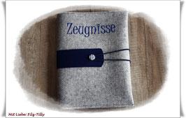 Zeugnismappe / Dokumentenmappe aus Filz inkl. Display Buch / grau-meliert mit dunkelblau