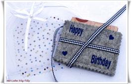 """Geldgeschenke Filz / Filzhülle """" Happy Birthday """" in Geschenksäckchen / grau-blau"""