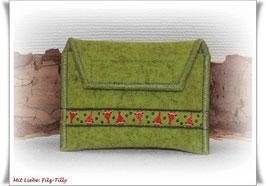 TAN - Lesegerät Tasche aus Filz / kiwi / Webband Zwerge