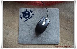 "Mousepad aus Filz "" Monster Schlürfi "" grau-dunkelblau"