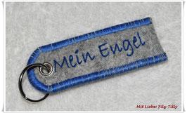 """Schlüsselanhänger aus Filz """" Mein Engel """" grau-royalblau"""