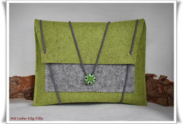 Filztasche / Tablet Tasche / Büchertasche / kiwi & grau-meliert