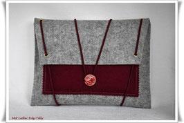 Filztasche / Tablet Tasche / Büchertasche / grau-meliert & bordeaux