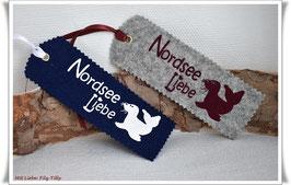 Lesezeichen aus Filz / Nordsee Liebe - Robbe  / Farbe wählbar
