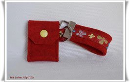 Schlüsselanhänger & Täschchen im Set / Schmetterlinge / Filz rot