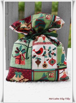 "Geschenksäckchen "" Merry Christmas "" aus Baumwollstoff"