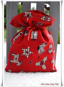 """Geschenksäckchen """" karierte Weihnachtsmotive auf rot"""" / Baumwolle"""