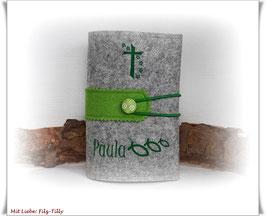 Gotteslobhülle aus Filz / grau-meliert & grün / personalisiert / individualisierbar