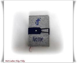 Gotteslobhülle aus Filz / grau-meliert mit blau / personalisiert