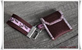 Schlüsselanhänger & Täschchen im Set / braun-rosa / Äffchen