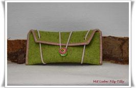 Tolles Etui aus Wollfilz für allerlei Frauenkram - kiwi (grün) / rosa