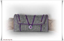 Tolles Etui aus Wollfilz für allerlei Frauenkram - grau-meliert/lila