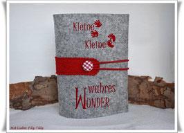 Mutterpasshülle aus Wollfilz / wahres Wunder / rot auf grau-meliert