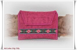 TAN - Lesegerät Tasche aus Filz / magnolie / Webband Blumengirlande