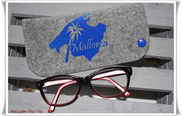 "Brillenetui ""Mallorca "" aus Filz / blau auf grau-meliert"